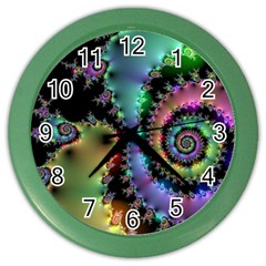 Satin Rainbow, Spiral Curves Through The Cosmos Wall Clock (color)