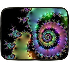 Satin Rainbow, Spiral Curves Through The Cosmos Mini Fleece Blanket (two Sided)