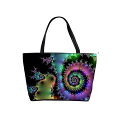 Satin Rainbow, Spiral Curves Through The Cosmos Large Shoulder Bag
