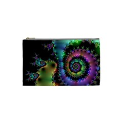 Satin Rainbow, Spiral Curves Through The Cosmos Cosmetic Bag (small)