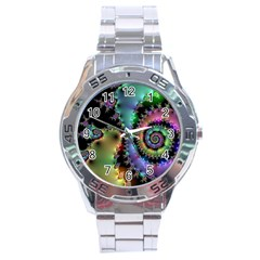 Satin Rainbow, Spiral Curves Through the Cosmos Stainless Steel Watch