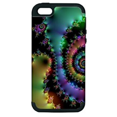 Satin Rainbow, Spiral Curves Through The Cosmos Apple Iphone 5 Hardshell Case (pc+silicone)