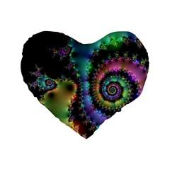 Satin Rainbow, Spiral Curves Through the Cosmos 16  Premium Heart Shape Cushion