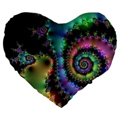 Satin Rainbow, Spiral Curves Through the Cosmos 19  Premium Heart Shape Cushion