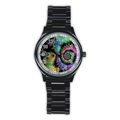 Satin Rainbow, Spiral Curves Through the Cosmos Sport Metal Watch (Black)