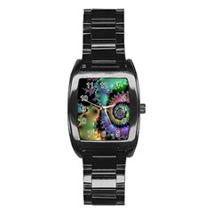 Satin Rainbow, Spiral Curves Through the Cosmos Stainless Steel Barrel Watch