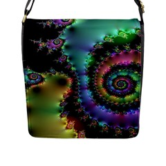 Satin Rainbow, Spiral Curves Through The Cosmos Flap Closure Messenger Bag (large)