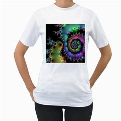 Satin Rainbow, Spiral Curves Through the Cosmos Women s T-Shirt (White)