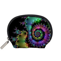 Satin Rainbow, Spiral Curves Through the Cosmos Accessory Pouch (Small)