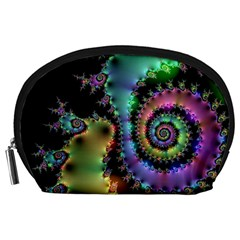 Satin Rainbow, Spiral Curves Through the Cosmos Accessory Pouch (Large)