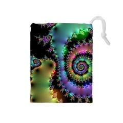 Satin Rainbow, Spiral Curves Through the Cosmos Drawstring Pouch (Medium)