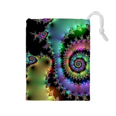 Satin Rainbow, Spiral Curves Through the Cosmos Drawstring Pouch (Large)