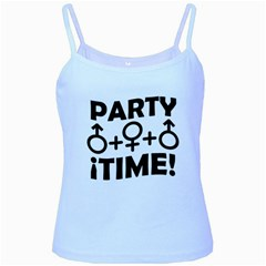 Party Time Threesome Sex Concept Typographic Design Baby Blue Spaghetti Tank
