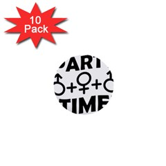 Party Time Threesome Sex Concept Typographic Design 1  Mini Button (10 Pack)