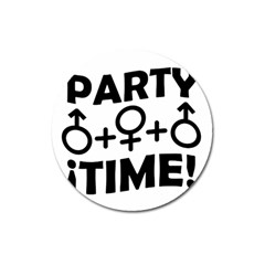 Party Time Threesome Sex Concept Typographic Design Magnet 3  (Round)