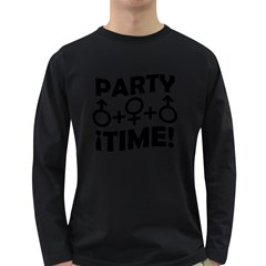 Party Time Threesome Sex Concept Typographic Design Men s Long Sleeve T-shirt (Dark Colored)