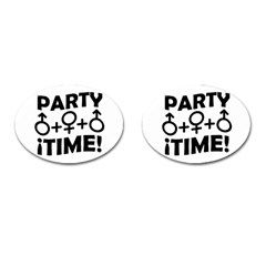 Party Time Threesome Sex Concept Typographic Design Cufflinks (Oval)