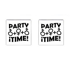 Party Time Threesome Sex Concept Typographic Design Cufflinks (Square)
