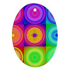 Retro Circles Oval Ornament