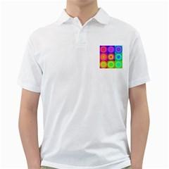 Retro Circles Men s Polo Shirt (White)