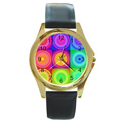 Retro Circles Round Leather Watch (gold Rim)