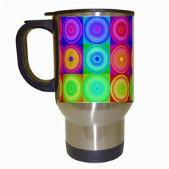 Retro Circles Travel Mug (White)