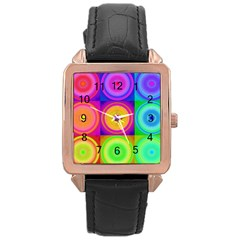 Retro Circles Rose Gold Leather Watch