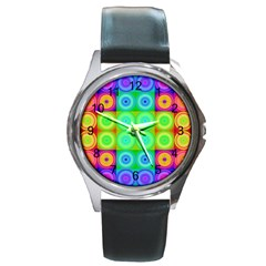 Rainbow Circles Round Leather Watch (silver Rim)