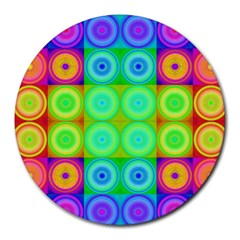 Rainbow Circles 8  Mouse Pad (round)