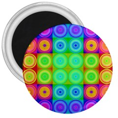 Rainbow Circles 3  Button Magnet