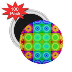 Rainbow Circles 2 25  Button Magnet (100 Pack)