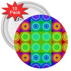 Rainbow Circles 3  Button (10 pack)