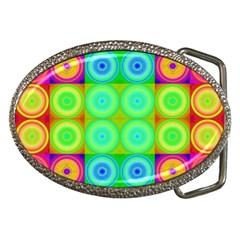 Rainbow Circles Belt Buckle (oval)