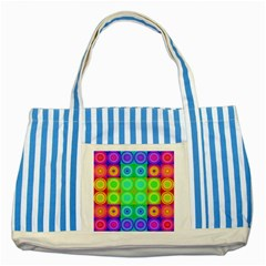 Rainbow Circles Blue Striped Tote Bag