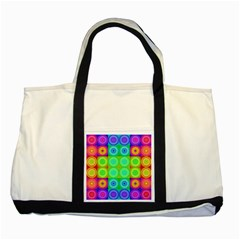 Rainbow Circles Two Toned Tote Bag