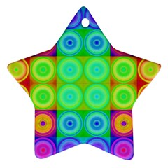 Rainbow Circles Star Ornament (two Sides)
