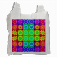 Rainbow Circles White Reusable Bag (two Sides)