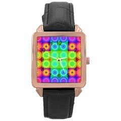 Rainbow Circles Rose Gold Leather Watch