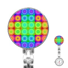 Rainbow Circles Stainless Steel Nurses Watch