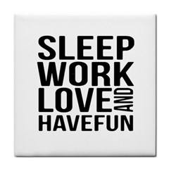 Sleep Work Love And Have Fun Typographic Design 01 Face Towel