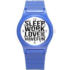Sleep Work Love And Have Fun Typographic Design 01 Plastic Sport Watch (small)