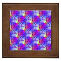 Rainbow Led Zeppelin Symbols Framed Ceramic Tile