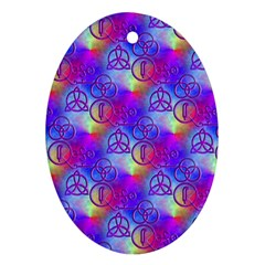 Rainbow Led Zeppelin Symbols Ornament (oval)