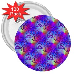 Rainbow Led Zeppelin Symbols 3  Button (100 pack)