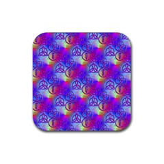 Rainbow Led Zeppelin Symbols Rubber Square Coaster (4 pack)