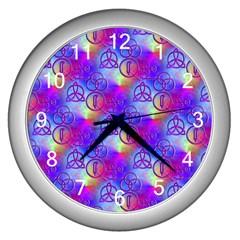 Rainbow Led Zeppelin Symbols Wall Clock (Silver)