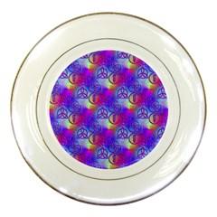 Rainbow Led Zeppelin Symbols Porcelain Display Plate