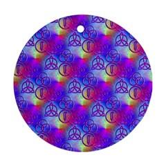 Rainbow Led Zeppelin Symbols Round Ornament (Two Sides)