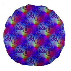 Rainbow Led Zeppelin Symbols 18  Premium Round Cushion