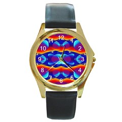 Planet Something Round Leather Watch (gold Rim)